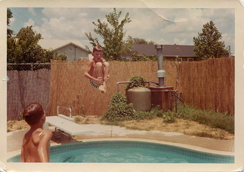 Tony testing out the splash-worthiness of that pool